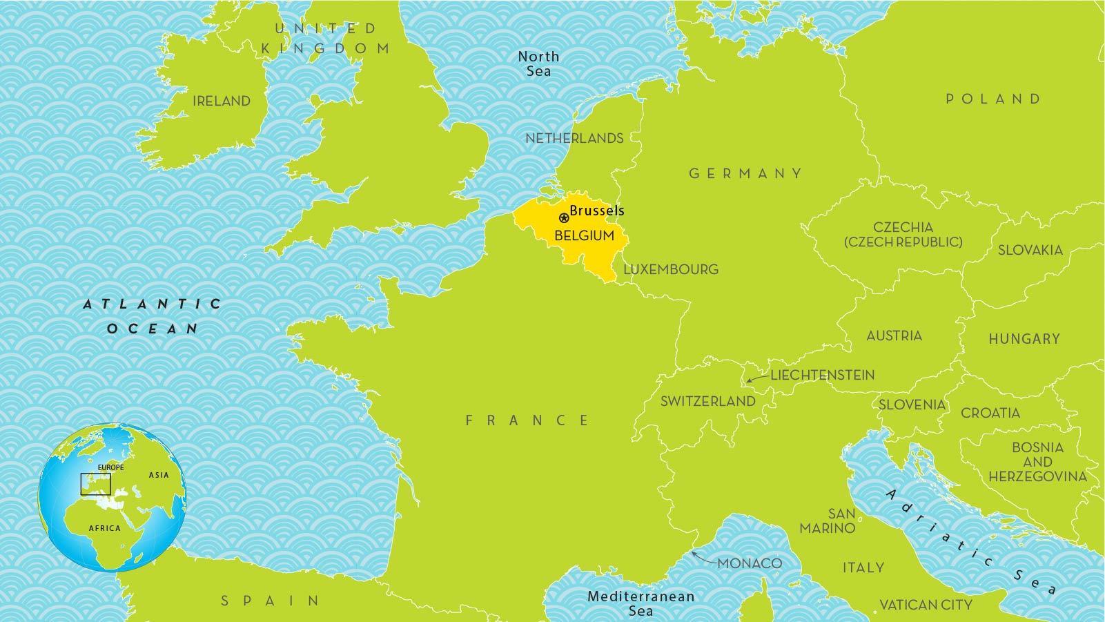 Bruxelles, belgique carte europe - Carte de Bruxelles en europe (Belgique)