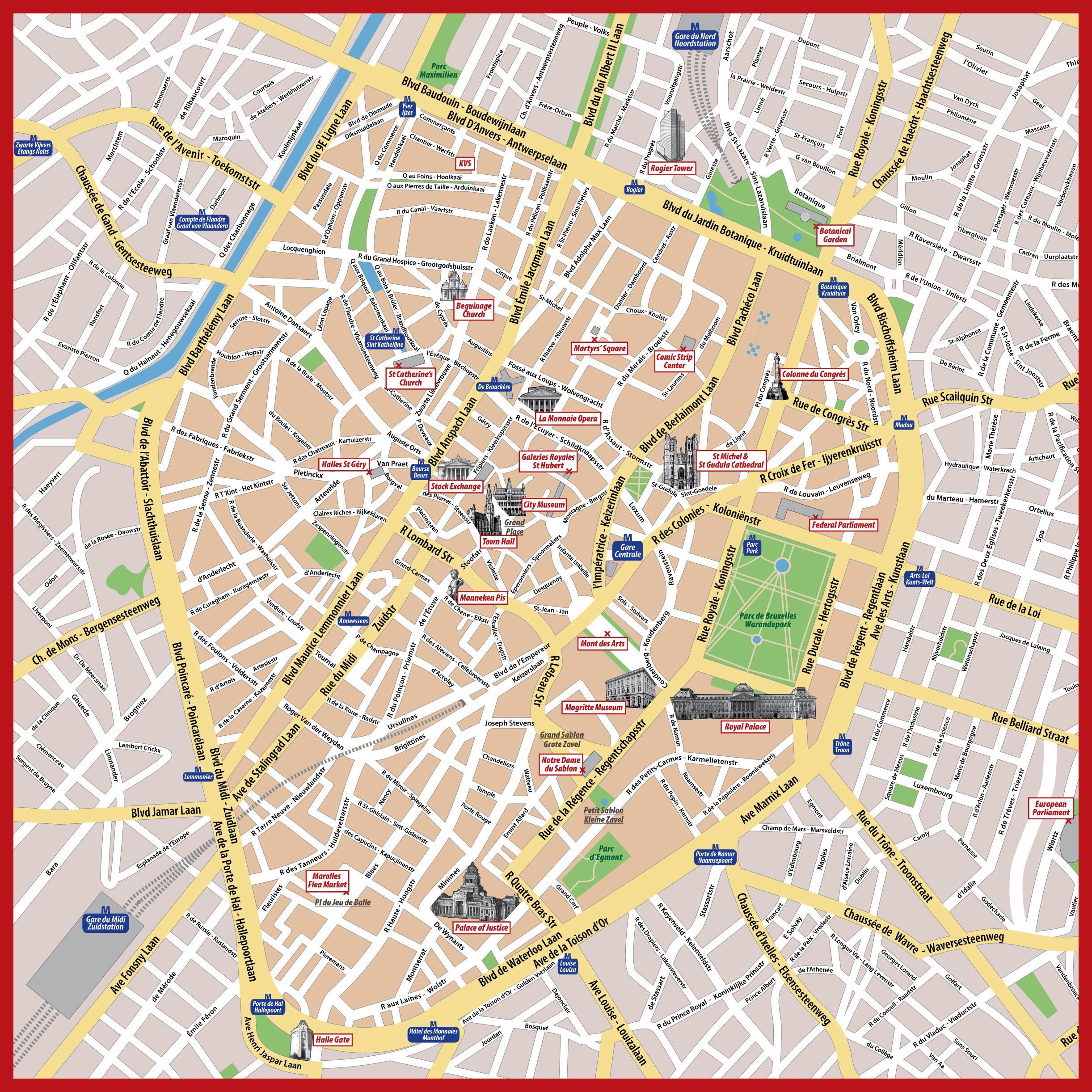 De bruxelles-carte touristique - Tourisme carte de Bruxelles (Belgique)