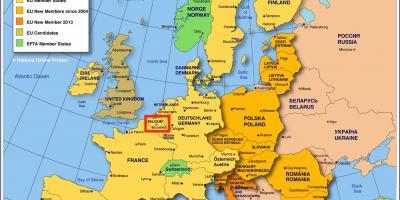De bruxelles-carte europe - Carte de l'europe montrant Bruxelles (Belgique)